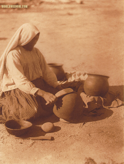 """The Papago potter"" - Papago, , by Edward S. Curtis from The North American Indian Volume 2"