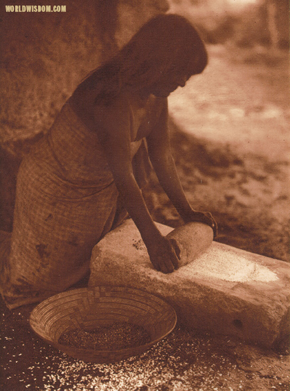 """Maricopa woman mealing"" - Maricopa, by Edward S. Curtis from The North American Indian Volume 2"