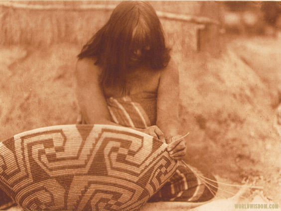 """Havachach Weaving"" - Maricopa, by Edward S. Curtis from The North American Indian Volume 2"