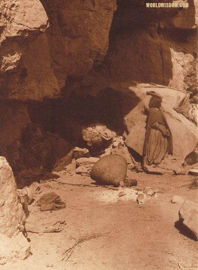"""Havasupai cliff dwelling"" - Havasupai, by Edward S. Curtis from The North American Indian Volume 2"