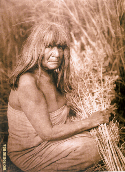 """Hipah with arrow-brush"" - Maricopa, by Edward S. Curtis from The North American Indian Volume 2"