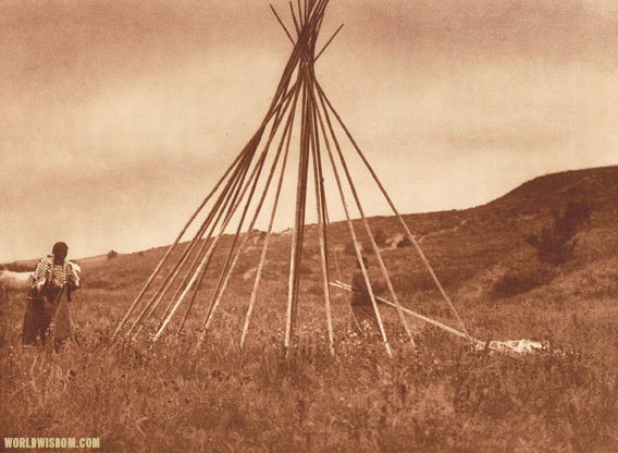 Tipi construction (A) - Teton Souix, , by Edward S. Curtis from The North American Indian Volume 3