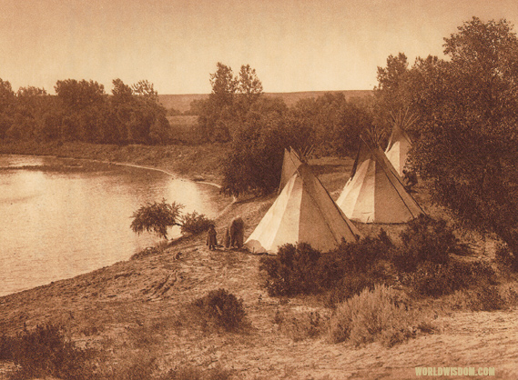 """A river camp - Yanktonai"", by Edward S. Curtis from The North American Indian Volume 3"