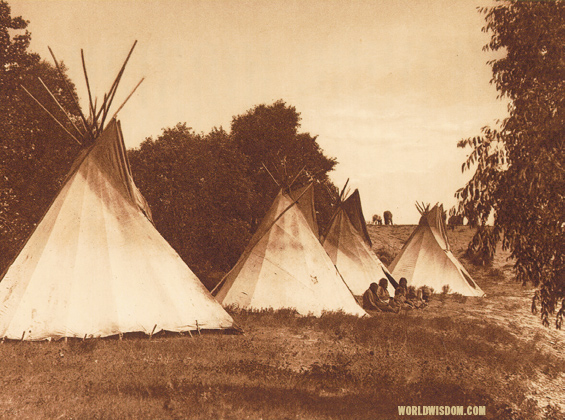 """Camp life - Assiniboin"", by Edward S. Curtis from The North American Indian Volume 3"