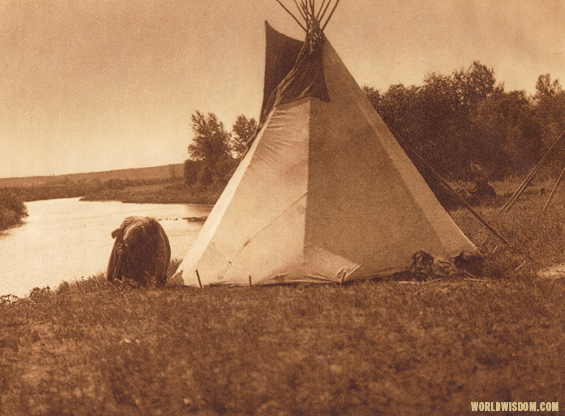 """An Assiniboin lodge - Assiniboin"", by Edward S. Curtis from The North American Indian Volume 3"