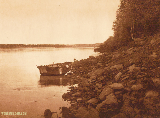 """Hidatsa bull-boat"" - Hidatsa, by Edward S. Curtis from The North American Indian Volume 4"