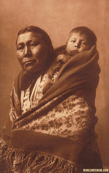 """Hidatsa mother"" - Hidatsa, by Edward S. Curtis from The North American Indian Volume 4"