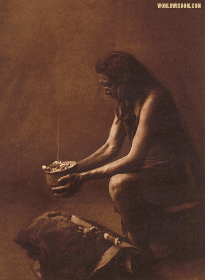 """Incense over a medicine bundle"" - Hidatsa, by Edward S. Curtis from The North American Indian Volume 4"