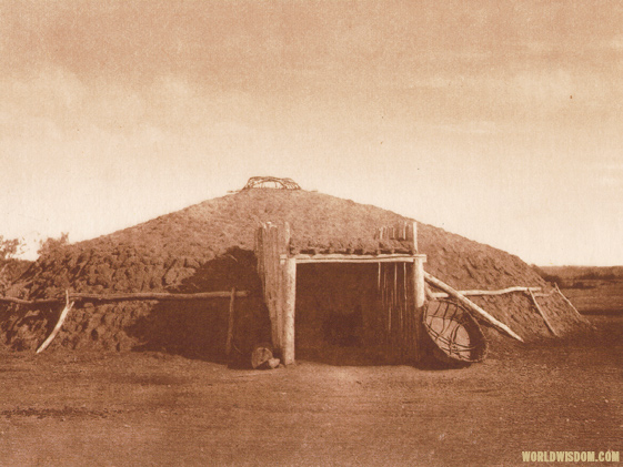 """Mandan earthen lodge"" - Mandan, by Edward S. Curtis from The North American Indian Volume 5"