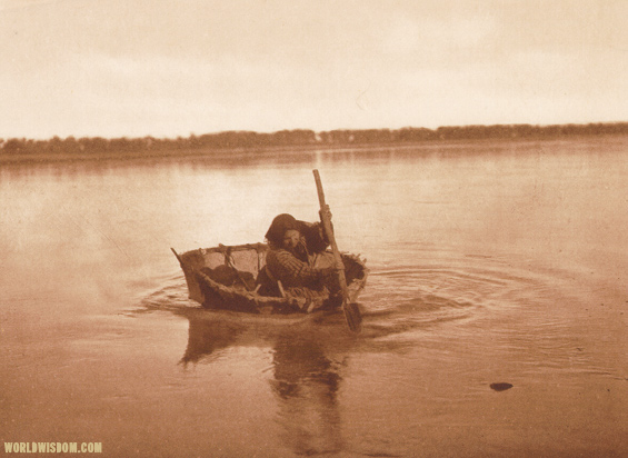 """Mandan bull-boat"" - Mandan, by Edward S. Curtis from The North American Indian Volume 5"