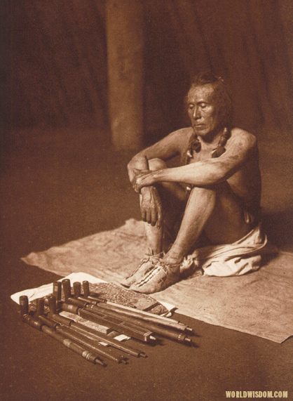 """In the medicine-lodge"" - Arikara, by Edward S. Curtis from The North American Indian Volume 5"