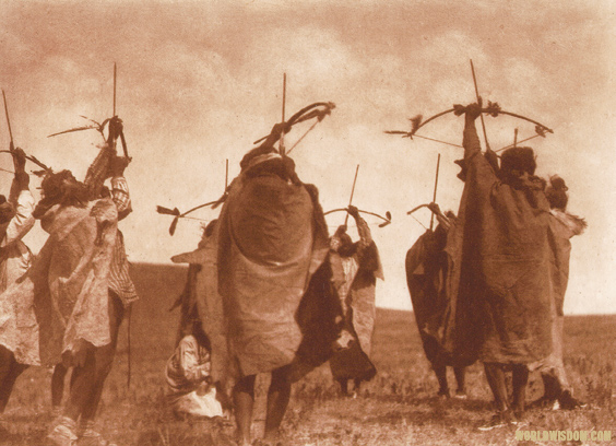 """Atsina crazy dance : The flight of arrows"" - Atsina, by Edward S. Curtis from The North American Indian Volume 5"