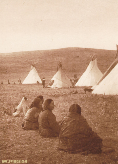 """Camp gossips"" - Atsina, by Edward S. Curtis from The North American Indian Volume 5"