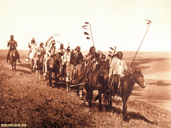 """On the war-path"" - Atsina, by Edward S. Curtis from The North American Indian Volume 5"
