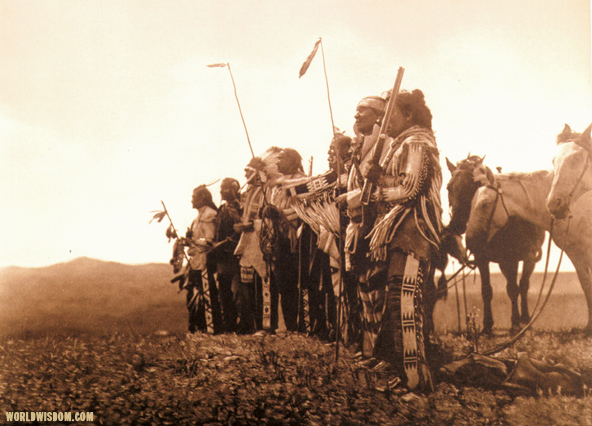 """Awaiting the scouts' return"" - Atsina, by Edward S. Curtis from The North American Indian Volume 5"