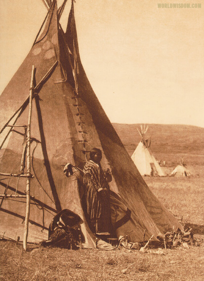 """Piegan lodge"" - Piegan, by Edward S. Curtis from The North American Indian Volume 6"