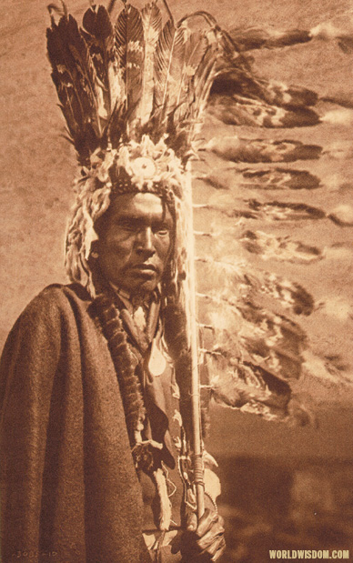 """war-bonnet and coup-stick"" - Piegan, by Edward S. Curtis from The North American Indian Volume 6"