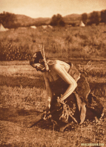 """Offering pipe to the earth"" - Cheyenne, by Edward S. Curtis from The North American Indian Volume 6"