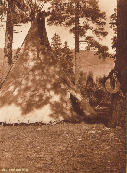 """Flathead buffalo-skin lodge"", by Edward S. Curtis from The North American Indian Volume 7"
