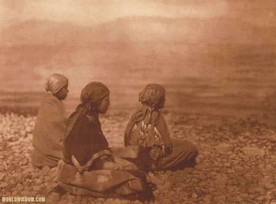 """Kutenai girls at the lake-shore"", by Edward S. Curtis from The North American Indian Volume 7"