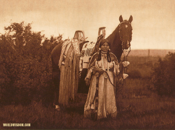 """With her proudly decked horse - Cayuse"", by Edward S. Curtis from The North American Indian Volume 8"