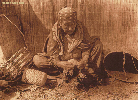 """Wishham basket worker"", by Edward S. Curtis from The North American Indian Volume 8"
