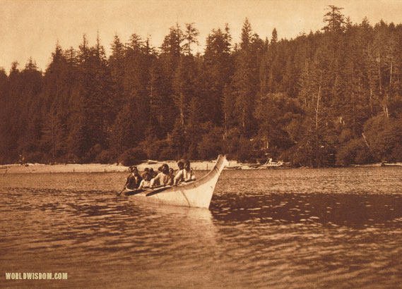 """War Canoe"" - Quinault, by Edward S. Curtis from The North American Indian Volume 9"