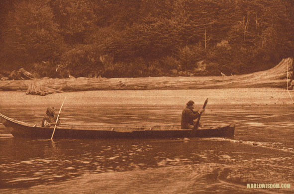 """Setting the net"" - Quinault, by Edward S. Curtis from The North American Indian Volume 9"