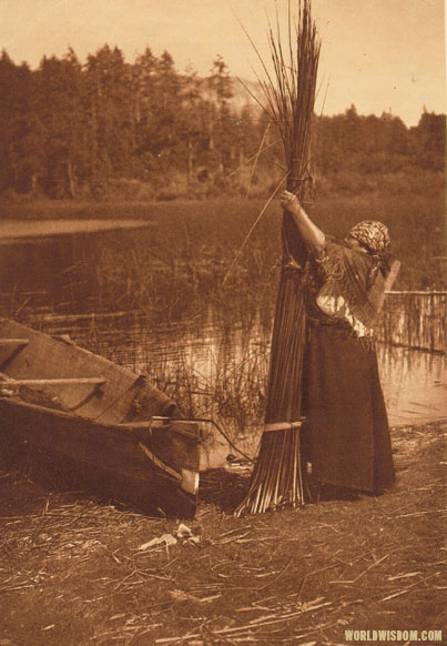 """Tying the bundle"" - Cowichan, by Edward S. Curtis from The North American Indian Volume 9"