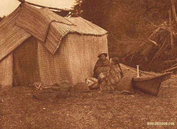 """A mat shelter"" - Skokomish, by Edward S. Curtis from The North American Indian Volume 9"