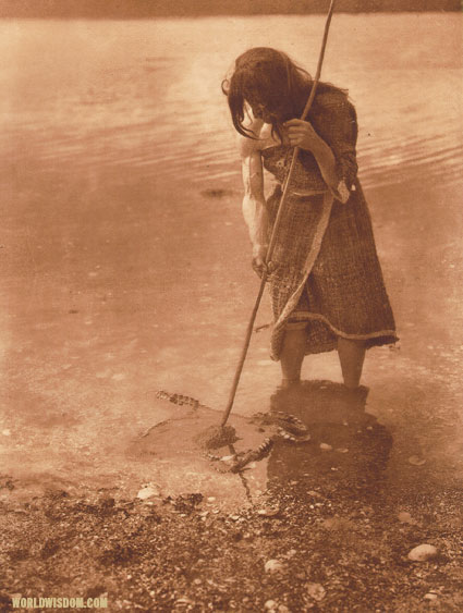 """The octopus catcher - Kwakiutl"", by Edward S. Curtis from The North American Indian Volume 10"