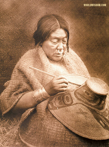"""Painting a hat - Kwakiutl"", by Edward S. Curtis from The North American Indian Volume 10"