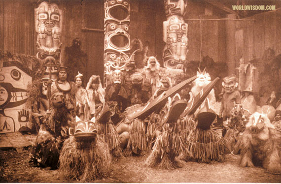 """Masked dancers - Kwakiutl"", by Edward S. Curtis from The North American Indian Volume 10"