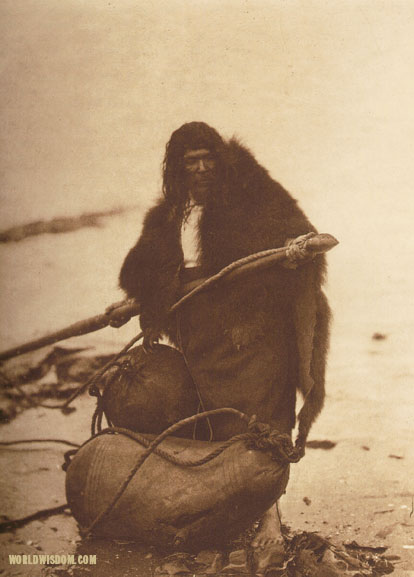 """Fastening the harpoon point - Nootka"", by Edward S. Curtis from The North American Indian Volume 11"