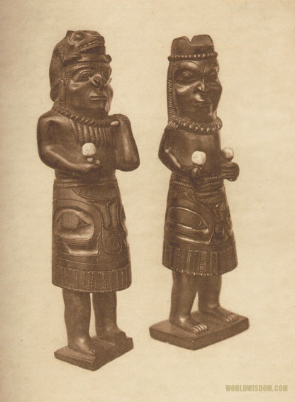 """Slate carvings representing a Haida shaman - Haida"" , by Edward S. Curtis from The North American Indian Volume 11"