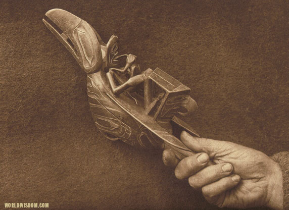 """A Haida shaman's rattle - Haida"", by Edward S. Curtis from The North American Indian Volume 11"