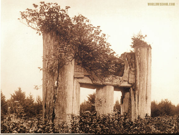 """Haida chief's tomb at Yan - Haida"", by Edward S. Curtis from The North American Indian Volume 11"