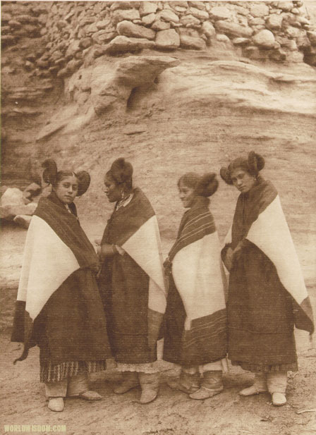 """Hano and Walpi girls wearing atoo - Hopi"", by Edward S. Curtis from The North American Indian Volume 12"