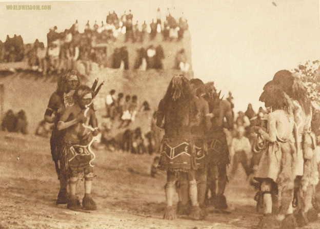 """Snake dancer and 'hugger' - Hopi"", by Edward S. Curtis from The North American Indian Volume 12"