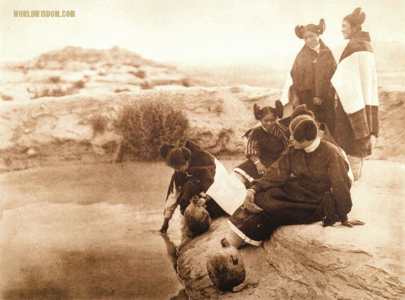 """Loitering at the spring - Hopi"", by Edward S. Curtis from The North American Indian Volume 12"
