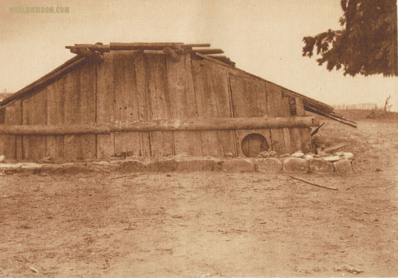 """Hupa house - Hupa"", by Edward S. Curtis from The North American Indian Volume 13"