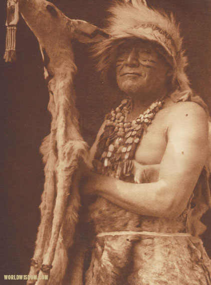 """White deerskin dance costume - Hupa"", by Edward S. Curtis from The North American Indian Volume 13"