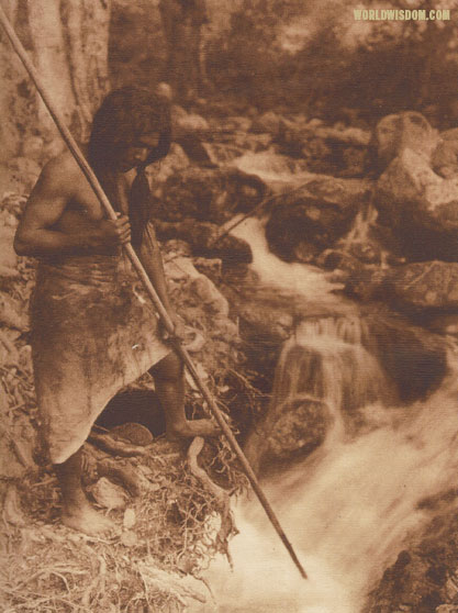 """Watching for salmon - Hupa"", by Edward S. Curtis from The North American Indian Volume 13"