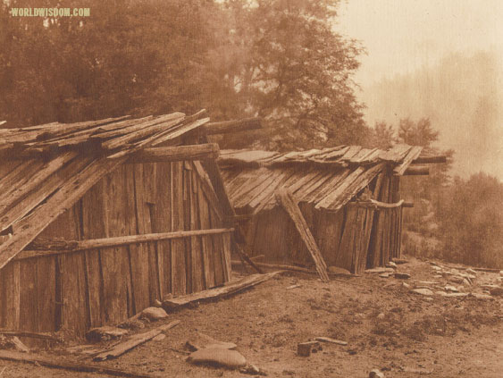 """Yurok houses at Weitspus - Yurok"", by Edward S. Curtis from The North American Indian Volume 13"