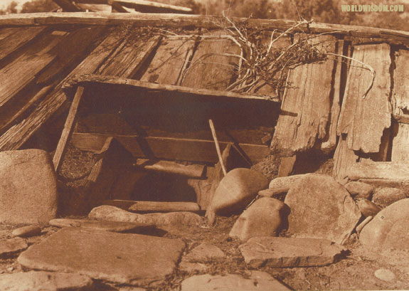 """Entrance to a Yurok sweat-house - Yurok"", by Edward S. Curtis from The North American Indian Volume 13"