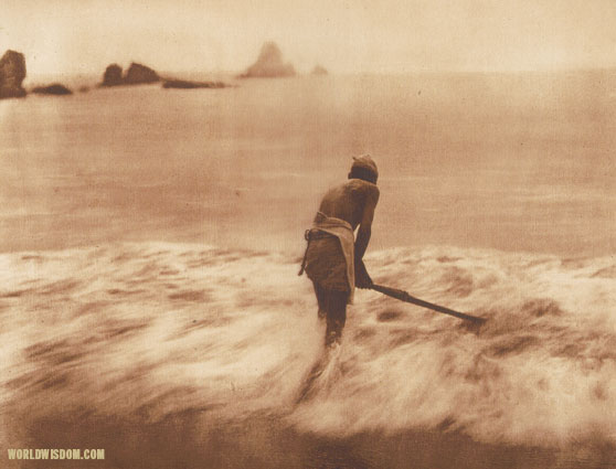 """Fishing for smelt in the surf - Yurok"", by Edward S. Curtis from The North American Indian Volume 13"