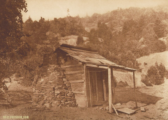 """Karok house at Soames bar - Karok"", by Edward S. Curtis from The North American Indian Volume 13"