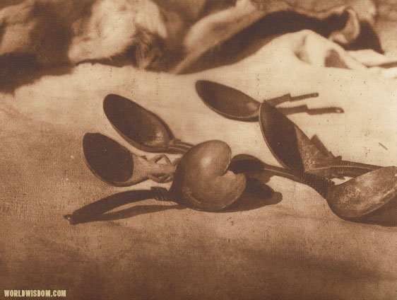"""Elk-horn spoons - Tolowa"", by Edward S. Curtis from The North American Indian Volume 13"