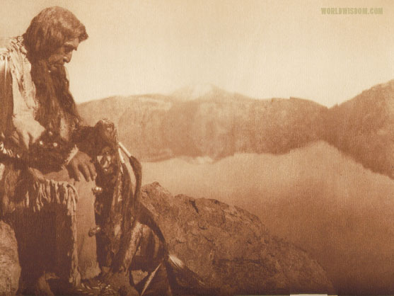 """Thinking of the old days - Klamath"", by Edward S. Curtis from The North American Indian Volume 13"