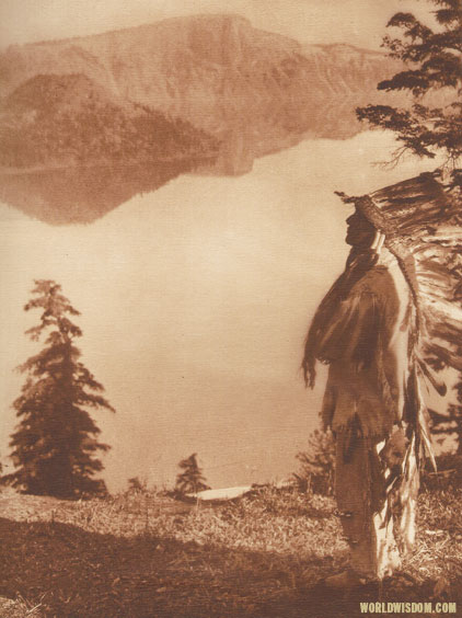 """Praying to the spirits of Crater Lake - Klamath"", by Edward S. Curtis from The North American Indian Volume 13"
